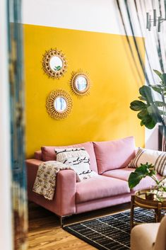 Home Design Ideas: Home Decorating Ideas Living Room Home Decorating Ideas Living Room Work as Life and Life as Work: Our Homestory with Sophia Zarindast - J . Boho Living Room, Living Room Interior, Living Room Decor, Living Room Yellow, Living Rooms, Rosa Sofa, Estilo Interior, Deco Retro, Yellow Interior