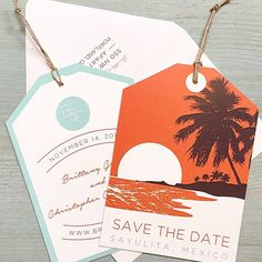 Custom destination wedding save the dates from Tie That Binds in Portland, Oregon