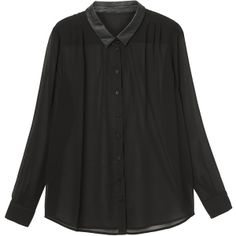 You couldn't buy enough yardage at this price!  Satin collar - full cut - Divine! Monki Sanna application blouse ($14) via Polyvore