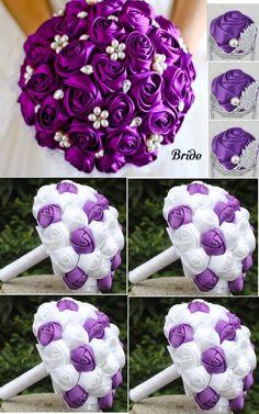 10pcs Satin Rose Brooch Bouquet PACK- 021 Rose Boutonniere, Rose Bouquet, Royal Purple Wedding, Wedding Bouquets Pictures, Diy Fleur, Star Wars Wedding, Flower Ball, Satin Roses, Funeral Flowers