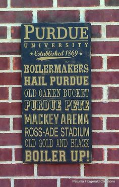 Purdue University Painted Wood Sign / Word by petuniafitzgerald, $55.00