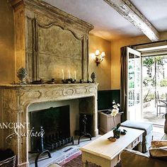 Antique Stone Fireplace mantle by Ancient Surfaces. http://www.ancientsurfaces.com/Antique-Fireplaces.html  #antiquefireplaces #stonefireplaces #stonemantles #limestonefireplaces #stonesurrounds #antquemantels #limestonemantels #ancientsurfaces #oldstone #antiquestone