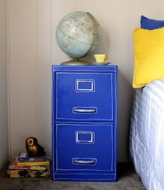 10 Ways to Refurbish a Filing Cabinet. Goodwill purchase around $5 and bit of paper or paint and great to sell to students! Fun easy projects