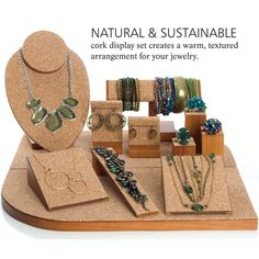 set Natural and sustainable cork display. Nice looking and probably non-slip too.Natural and sustainable cork display. Nice looking and probably non-slip too. Jewelry Stand, Jewelry Holder, Jewelry Box, Diy Jewelry, Cameo Jewelry, Simple Jewelry, Hanging Jewelry, Necklace Holder, Pandora Jewelry