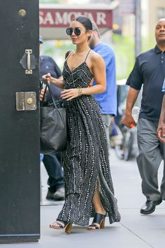 Vanessa Hudgens wearing Urban Outifitters Ecote Strappy Back Safari Maxi Dress