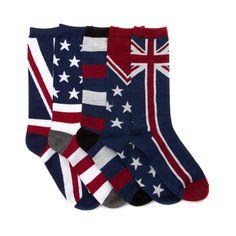 Mens US UK Flag Crew Socks 5 Pack