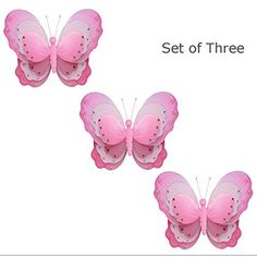 Set of 3 Large 13 Hanging Butterfly Dark Pink Fuchsia White Triple Layered Nylon Butterflies Baby Nursery Bedroom Girls Room Ceiling Wall Decor Wedding Kids Birthday Party Shower Decoration *** For more information, visit image link.