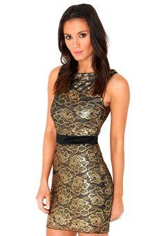 Taleen Gold Brocade Bodycon Dress  #MGpartyedit