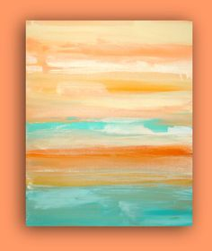 Original Coral and Aqua Acrylic Abstract Fine by OraBirenbaumArt, $225.00. Love the colors. Garage decoration inspiration. Maybe I could paint a cabinet door to match.