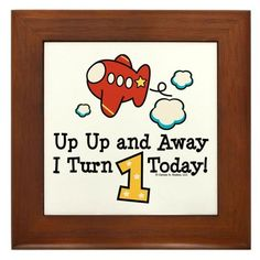 """1st Birthday Airplane Framed Tile by CafePress by CafePress. $15.00. 100% satisfaction guarantee return policy. Two holes for wall mounting. Quality construction frame constructed of stained Cherrywood. Frame measures 6"""" X 6"""" x 0.5"""" with 4.25"""" X 4.25"""" tile. Rounded edges. Cute plane t shirts, apparel,buttons and more make great first birthday party gift ideas. Cute for the future pilot turning one. Red and yellow airplane with a star. Up Up and Away I Turn 1 Today"""