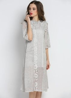 Cotton Solid Half Sleeve Knee-Length Casual Dresses