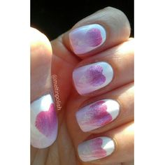 """@meltinpolish's photo: """"Lovely manicure!  Saw this on nailing.com http://www.nailitmag.com/nail-designs/gradient-hearts-sponged-tape-manicure-essie-seche-vite/nail-art-how-to-sponged-gradient/ @nailitmag from @carlysisoka. Had to try! I used Sinful Colors Snow Me White, @essieitalia Go Ginza, @aengland_official Briar Rose, @kikocosmeticsofficial n.282 #kiko #heart #aengland #sinfulcolors #essie #pink #nails #mani #nailitmag #naillacquer #nailjunkie #smalto  #nailart #lacquer…"""