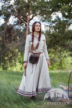 """Viking Natural Linen Dress """"Eydis the Shieldmaiden"""". Available in: natural flax :: by medieval store ArmStreet"""