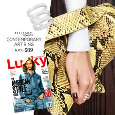 Lucky Mag paired our Contemporary Art Ring with swoon-worthy fall staples in their October issue! | #Silpada #FallFashion