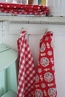Tissu Serviette Red Vichy Krasilnikoff Maison de campagne Serviette Coton à Carreaux