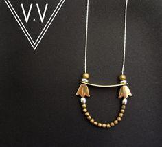 Brass Blossom Necklace  Beaded Jewelry  Sterling by VividVenus