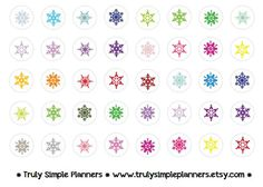 Printable Snowflakesfor erin condren life planner, filofax, plum paper, limelife. instant download printable stickers.