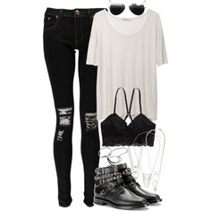 Alexander Wang tee, Boohoo jeans, AE bralette, Monica Vinader bracelets, and Saint Laurent ankle boots.