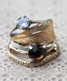 feather stacked rings, these belong on my finger.