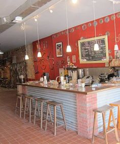 Brooklyn hybrid of bike shop meets cafe with spiced almond-milk lattes. Take me here now