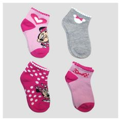 Keep her smiling in the Toddler Girls' Disney Minnie Mouse 4pk Ankle Socks – Peach. These toddler girls' socks feature her favorite friend – Minnie Mouse in dark pink, light pink, grey and white with darling prints.