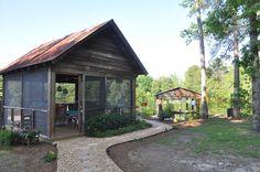 Jane Coslick Cottages : Hanging Beds at Julie Ann Farms Small Cottage Homes, Small Cottages, Cottage House, House Porch, Backyard House, Backyard Gazebo, Lake Cottage, Outdoor Rooms, Outdoor Gardens