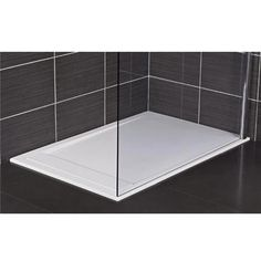 Roman - Infinity 40mm Low Profile Stone Rectangular Shower Tray - Gloss White…
