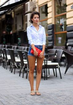 Button Up, Shorts, And Purse