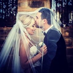 What a great wedding photo. Bride and groom. The kiss