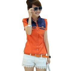 Allegra K Woman Fake Pockets Front Single Breasted Shirt Denim Blue Orange XS Allegra K. $11.97