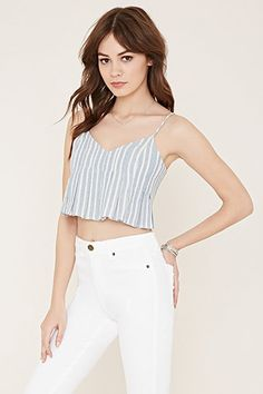 Buy it now. FOREVER21 Women's  Blue & Cream Striped Cami Crop Top. You'll want to crop until you drop with this striped cami crop top. It features a pleated front, a V-neckline, and adjustable straps. Embrace the nautical vibes and pair it with a boater hat. Invisible side zipperFully lined, woven65% cotton, 30% polyester, 5% spandex10%22 bust to hem, 32%22 chest, 30%22 waistMeasured from SmallHand wash coldMade in China , topcorto, croptops, croptops, croptop, topcrop, topscrops, cropped…