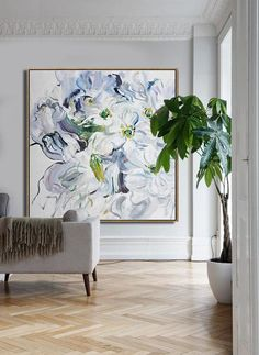 CZ Art Design - Hand painted Large floral Oil Painting on canvas, abstract flower art. Blue, green, yellow, violet, etc. @CelineZiangArt