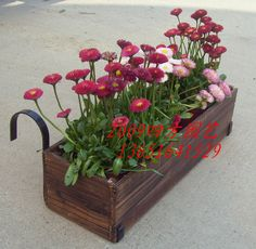 Wood Flower Box With 2 Hooks Attached To Hang On Terrace Railing Balcony
