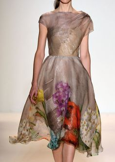 Rose | SS'13 ~ Taupe, mid length, short-sleeved dress with big and bold flowers printed at the hemline!! Gorgeous!!!