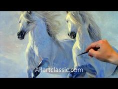 Painting Horses Running in Deep Snow-Entire Painting Process - YouTube
