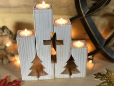 Rustic Cross and Christmas Tree Candle Gift Set and Advent Candle Holder - Mantle Decor Large Christmas Tree, Christmas Tree Candles, Advent Candles, Christmas Wood Crafts, Handmade Christmas Tree, Outdoor Christmas Decorations, Rustic Christmas, Christmas Tea, Christmas Cross