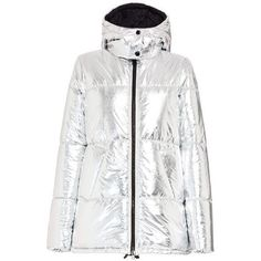 Metallic Silver Down Jacket via Polyvore featuring outerwear, jackets, down filled jacket, white down jacket, down jacket, silver down jacket and silver jacket