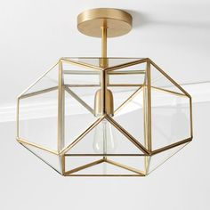 Metal and Glass Flushmount - gold - Lighting - Ceiling Lighting - Pottery Barn Teen Pendant Lighting Bedroom, Bedroom Light Fixtures, Entryway Lighting, Bedroom Chandeliers, Closet Lighting, Lighting Ideas Bedroom, Entry Way Lighting Fixtures, Cool Light Fixtures, Entryway Chandelier