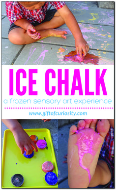 Ice chalk - a frozen sensory art experience kids will love! Get outdoors and try this activity with your kids today! Creative Activities For Kids, Fun Summer Activities, Kids Learning Activities, Sensory Activities, Infant Activities, Preschool Ideas, Outdoor Activities, Ice Chalk, Sensory Art