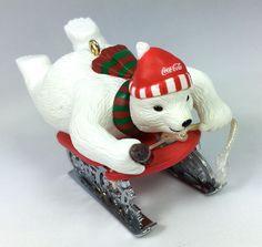 VTG CHRISTMAS ORNAMENT ❤︎ COCA-COLA BEARS ❤︎ SLEDDING POLAR BEAR ❤︎ NICE! 1990s…