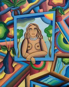 Mujer en la ventana Acrílico sobre madera 76x97
