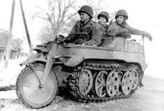 "SdKfz 2 AKA The Kettenkrad Country: Germany Date introduced: 1939 War: WWII Ketten is German for ""tracks"" and krad is the military abbreviation for the German word kraftrad, which means, ""motorcycle."" Known to the Allies as ""Rabbits,"" the Kettenkrads were some of the most intimidating pieces of Nazi weaponry. They were steered like a typical motorcycle, had the tracks of a tank, and were powered by a heavy-hitting 36-horsepower Opel motor. The pic shows US GI's with a captured one."