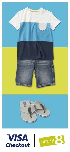 From shirts to shorts to shoes to shades, Visa Checkout can help you buy the perfect outfit in just a few clicks. Get $20 off your purchase of $60 or more when you pay with Visa Checkout online at Crazy 8, so your kids can have the perfect outfits all summer long, while you save money. Offer expires 6/26/15, or while supplies last. Use promo code CRAZY20 to redeem offer. Limit 1 per customer. Terms and exclusions apply. - I just like that it's animated.