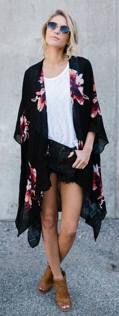 #summer #outfits  Black Floral Kimono + White Tee + Black Denim Short + Brown Open Toe Booties