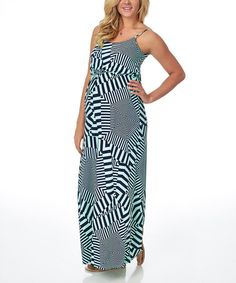 Love this Mint Green & Navy Blue Abstract Maternity Maxi Dress - Women by PinkBlush Maternity on #zulily! #zulilyfinds