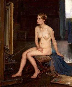 Elwell, Frederick, (1870-1958), Nude Seated in a Studio, 1935, Oil