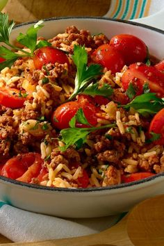 Reispfanne mit Hack und kleinen Tomaten Rice pan with mince and small tomatoes Rezepte Rice Recipes For Dinner, Pasta Recipes, Salad Recipes, Snack Recipes, Slow Cooker Recipes, Beef Recipes, Vegetarian Recipes, Cooking Recipes, Healthy Recipes