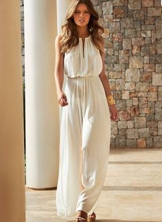 Beige Plain Cut Out Pleated Melissa Odabash 2015 Rachel Cream Chiffon Maxi Dress Source Ivory Prom Dresses, White Maxi Dresses, Day Dresses, White Dress, Prom Gowns, Dress Prom, Beach Dresses, Dress Long, Homecoming Dresses