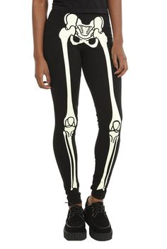 Glow in the dark skeleton legging