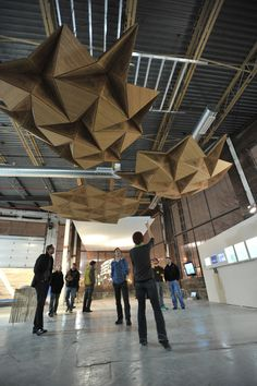 Resonant Chamber. Origami + lasercutting + simple acoustic principles = fascinating ceiling